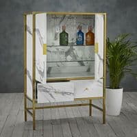WHITE MARBLE EFFECT GOLD WINE BAR DRINKS CABINET